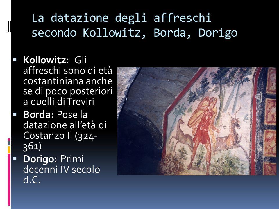 La datazione degli affreschi secondo Kollowitz, Borda, Dorigo Kollowitz: Gli affreschi sono di età costantiniana anche se di poco posteriori a quelli