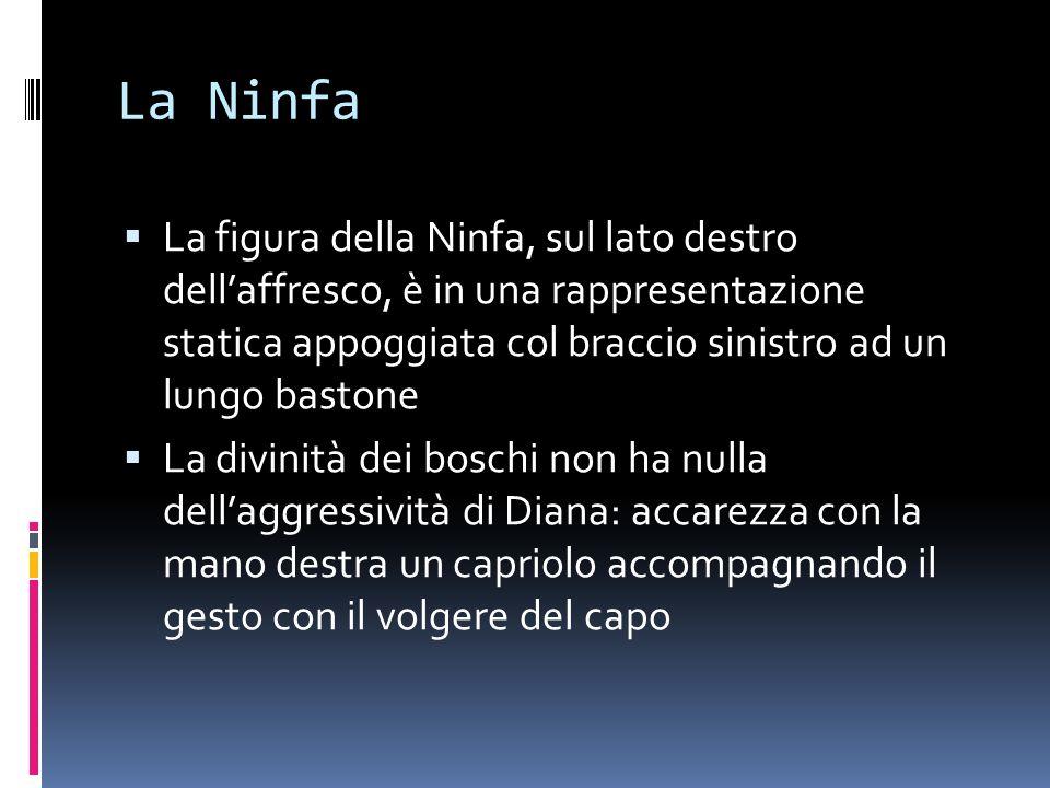 La Ninfa La figura della Ninfa, sul lato destro dellaffresco, è in una rappresentazione statica appoggiata col braccio sinistro ad un lungo bastone La