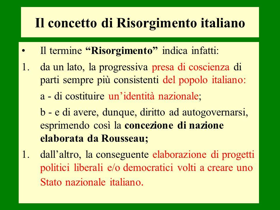 Il termine Risorgimento indica infatti: 1.da un lato, la progressiva presa di coscienza di parti sempre più consistenti del popolo italiano: a - di co