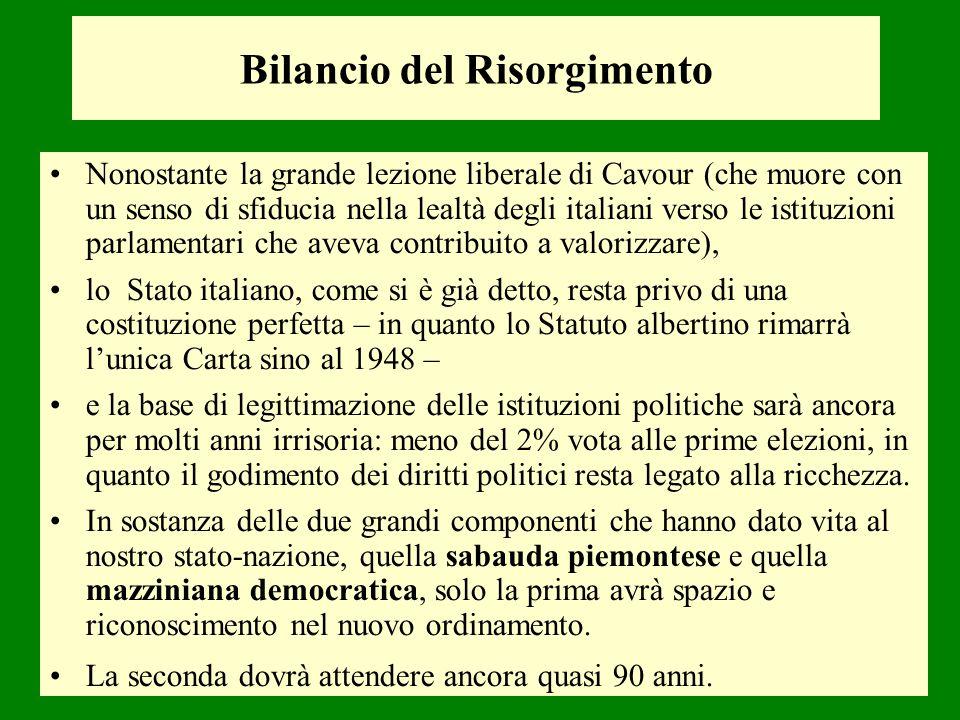 Bilancio del Risorgimento Nonostante la grande lezione liberale di Cavour (che muore con un senso di sfiducia nella lealtà degli italiani verso le ist