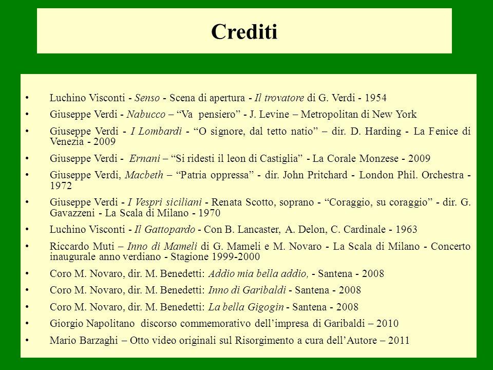 Crediti Luchino Visconti - Senso - Scena di apertura - Il trovatore di G. Verdi - 1954 Giuseppe Verdi - Nabucco – Va pensiero - J. Levine – Metropolit