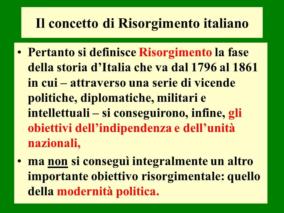 Pertanto si definisce Risorgimento la fase della storia dItalia che va dal 1796 al 1861 in cui – attraverso una serie di vicende politiche, diplomatic
