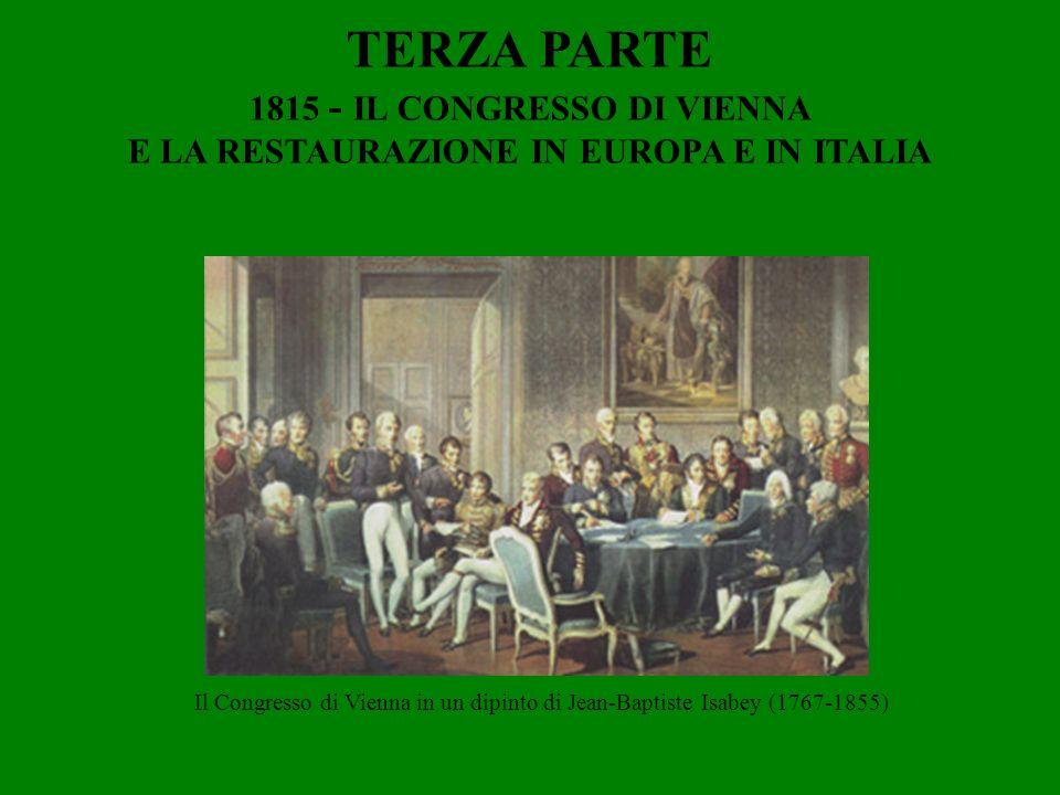 TERZA PARTE 1815 - IL CONGRESSO DI VIENNA E LA RESTAURAZIONE IN EUROPA E IN ITALIA Il Congresso di Vienna in un dipinto di Jean-Baptiste Isabey (1767-