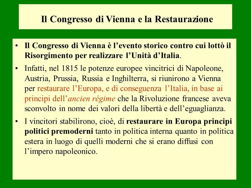 Il Congresso di Vienna e la Restaurazione Il Congresso di Vienna è levento storico contro cui lottò il Risorgimento per realizzare lUnità dItalia. Inf