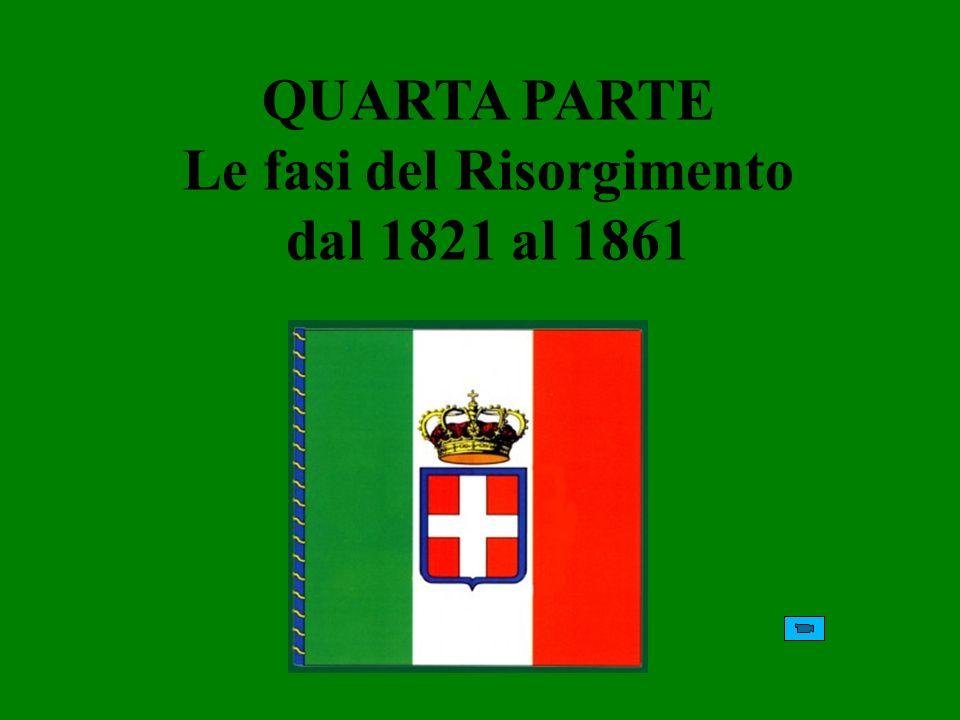 QUARTA PARTE Le fasi del Risorgimento dal 1821 al 1861