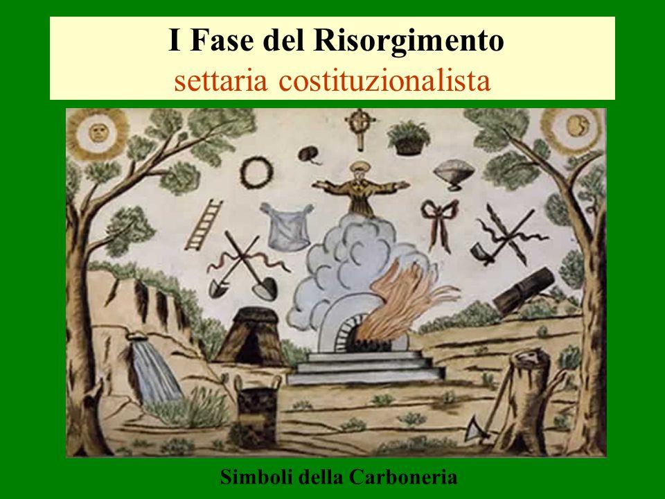 I Fase del Risorgimento settaria costituzionalista Simboli della Carboneria
