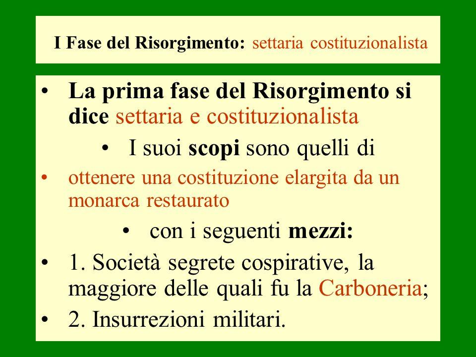 I Fase del Risorgimento: settaria costituzionalista La prima fase del Risorgimento si dice settaria e costituzionalista I suoi scopi sono quelli di ot