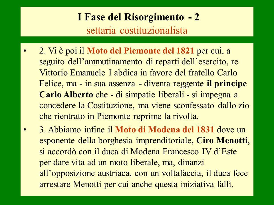 I Fase del Risorgimento - 2 settaria costituzionalista 2. Vi è poi il Moto del Piemonte del 1821 per cui, a seguito dellammutinamento di reparti delle