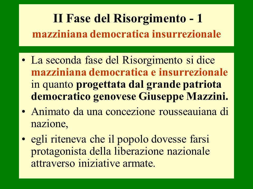 II Fase del Risorgimento - 1 mazziniana democratica insurrezionale La seconda fase del Risorgimento si dice mazziniana democratica e insurrezionale in