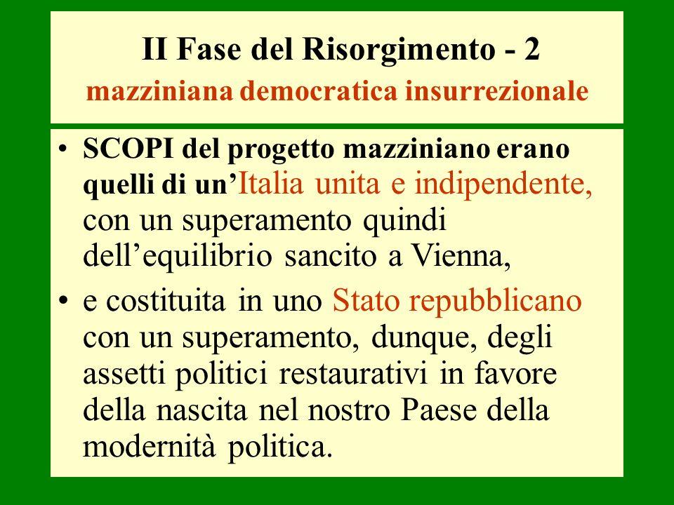 II Fase del Risorgimento - 2 mazziniana democratica insurrezionale SCOPI del progetto mazziniano erano quelli di un Italia unita e indipendente, con u