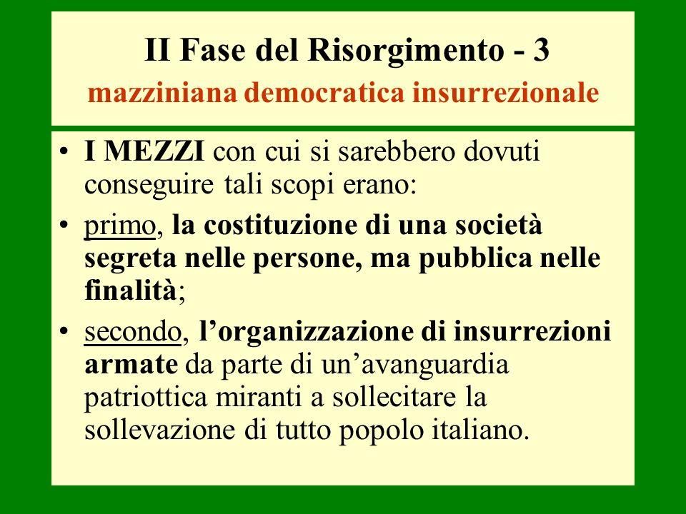 II Fase del Risorgimento - 3 mazziniana democratica insurrezionale I MEZZI con cui si sarebbero dovuti conseguire tali scopi erano: primo, la costituz