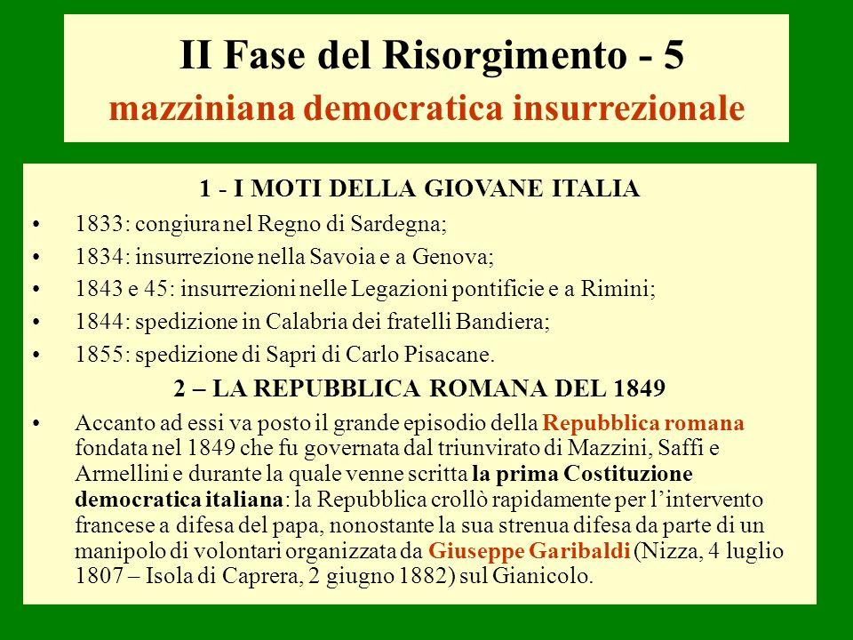 1 - I MOTI DELLA GIOVANE ITALIA 1833: congiura nel Regno di Sardegna; 1834: insurrezione nella Savoia e a Genova; 1843 e 45: insurrezioni nelle Legazi