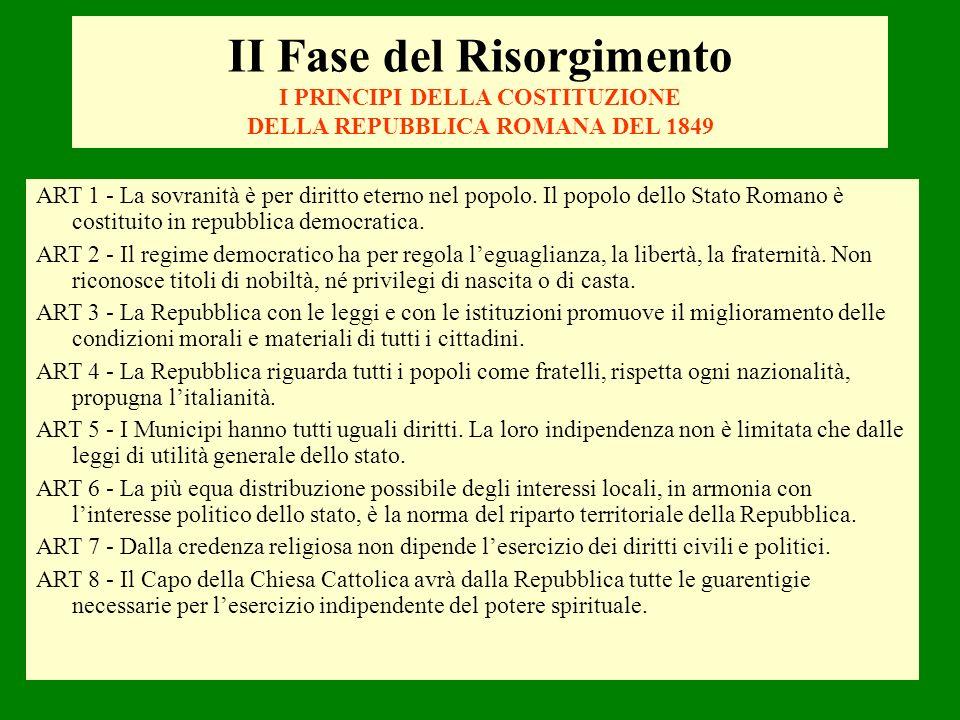 ART 1 - La sovranità è per diritto eterno nel popolo. Il popolo dello Stato Romano è costituito in repubblica democratica. ART 2 - Il regime democrati