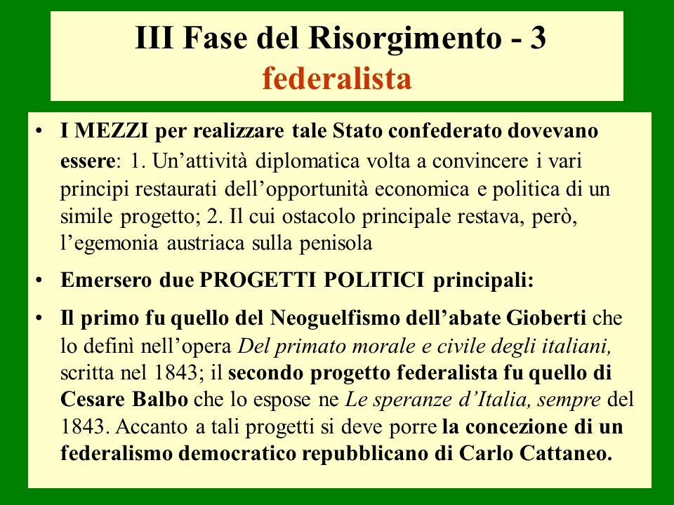 III Fase del Risorgimento - 3 federalista I MEZZI per realizzare tale Stato confederato dovevano essere: 1. Unattività diplomatica volta a convincere