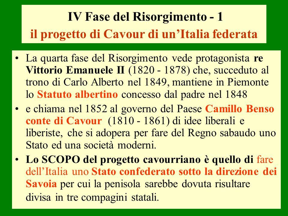 IV Fase del Risorgimento - 1 il progetto di Cavour di unItalia federata La quarta fase del Risorgimento vede protagonista re Vittorio Emanuele II (182