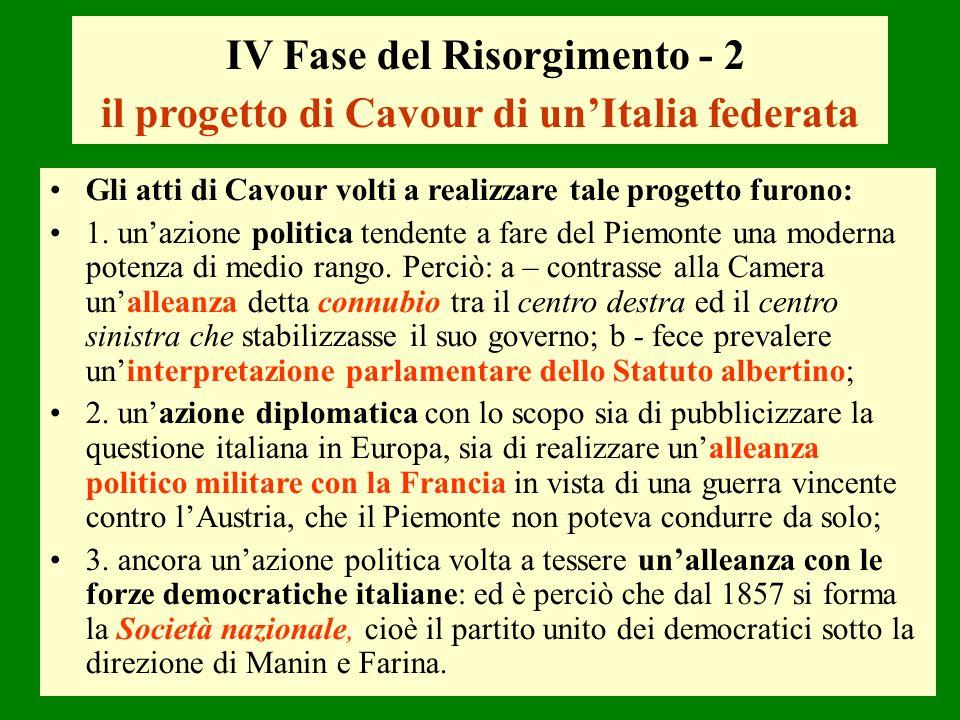 IV Fase del Risorgimento - 2 il progetto di Cavour di unItalia federata Gli atti di Cavour volti a realizzare tale progetto furono: 1. unazione politi