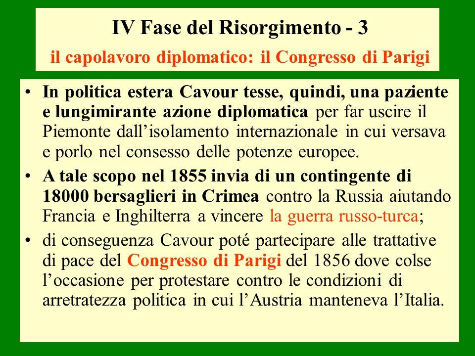 IV Fase del Risorgimento - 3 il capolavoro diplomatico: il Congresso di Parigi In politica estera Cavour tesse, quindi, una paziente e lungimirante az