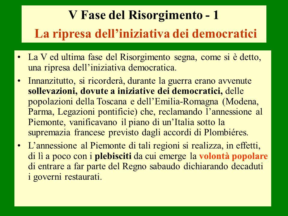 V Fase del Risorgimento - 1 La ripresa delliniziativa dei democratici La V ed ultima fase del Risorgimento segna, come si è detto, una ripresa dellini