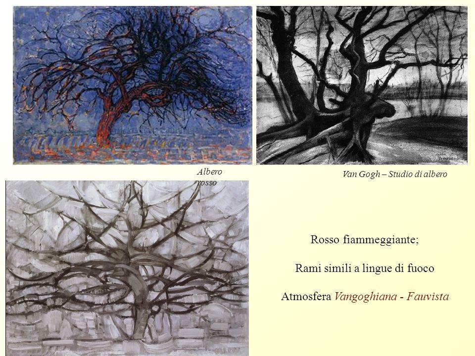 Mondrian: Paesaggio notturno Ripresa più leggera delle linee vorticose; Dimensione ipnotica Van Gogh: i vortici di linee si tramutano in stelle nel cielo notturno (Notte stellata)