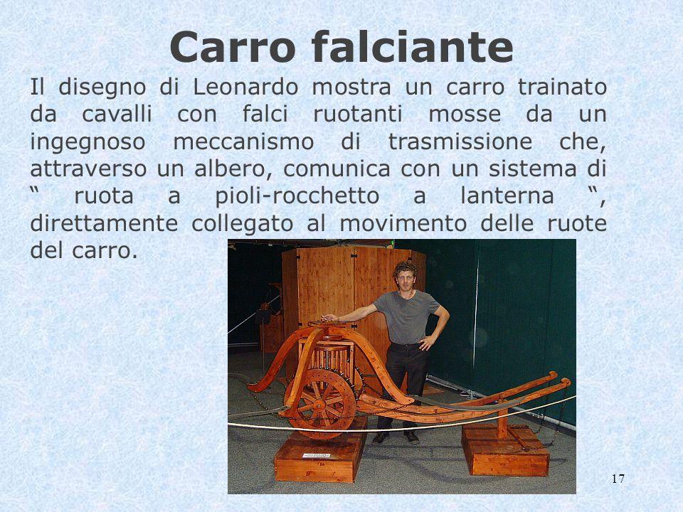 17 Carro falciante Il disegno di Leonardo mostra un carro trainato da cavalli con falci ruotanti mosse da un ingegnoso meccanismo di trasmissione che,
