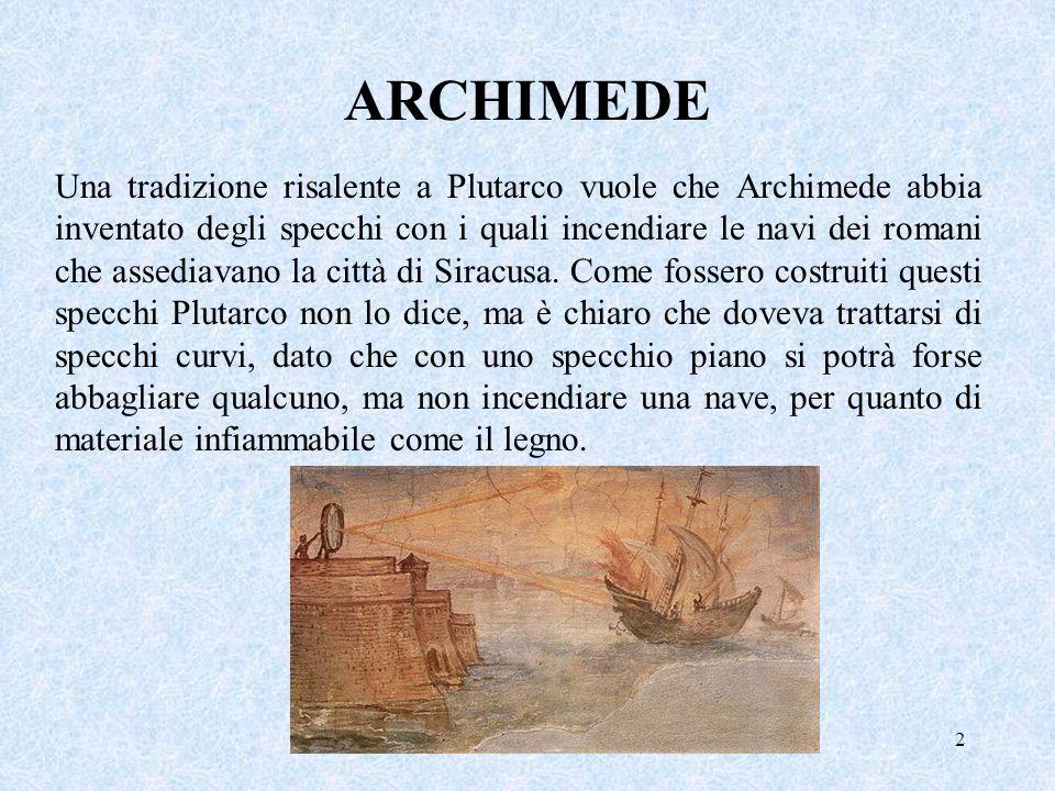 2 Una tradizione risalente a Plutarco vuole che Archimede abbia inventato degli specchi con i quali incendiare le navi dei romani che assediavano la c