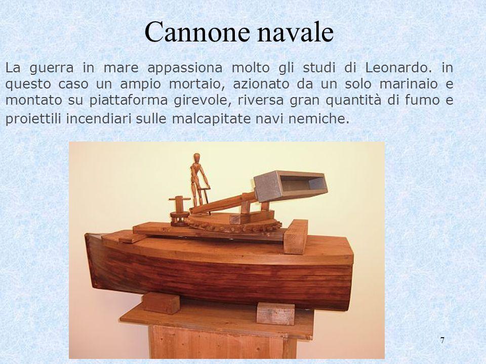 7 Cannone navale La guerra in mare appassiona molto gli studi di Leonardo. in questo caso un ampio mortaio, azionato da un solo marinaio e montato su