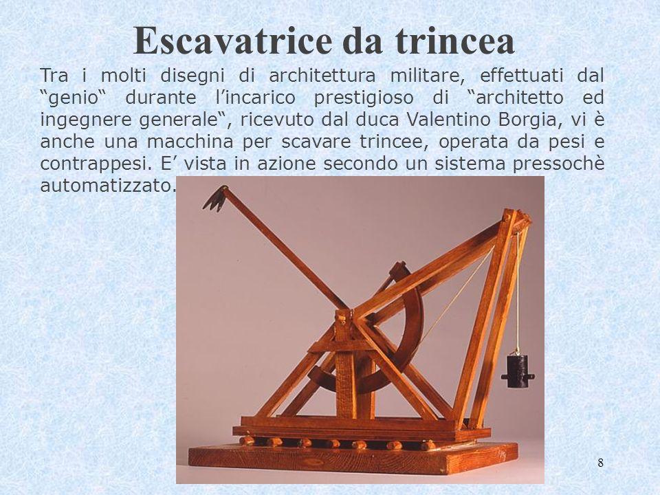 9 Ponte arcuato Si tratta dei ponti leggerissimi e forti che Leonardo prometteva nelle lettere al Moro.