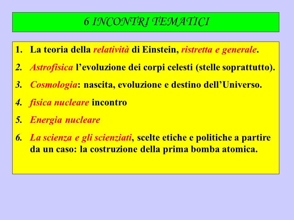 6 INCONTRI TEMATICI 1.La teoria della relatività di Einstein, ristretta e generale. 2.Astrofisica levoluzione dei corpi celesti (stelle soprattutto).