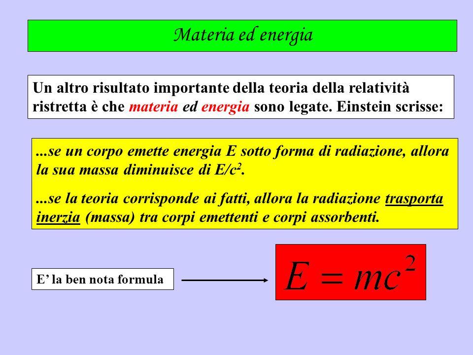 Materia ed energia Un altro risultato importante della teoria della relatività ristretta è che materia ed energia sono legate. Einstein scrisse:...se