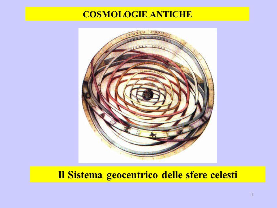 1 Il Sistema geocentrico delle sfere celesti COSMOLOGIE ANTICHE