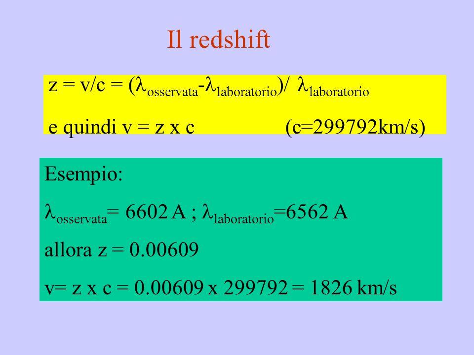 z = v/c = ( osservata - laboratorio )/ laboratorio e quindi v = z x c (c=299792km/s) Esempio: osservata = 6602 A ; laboratorio =6562 A allora z = 0.00