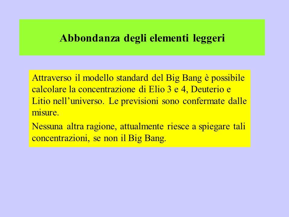 Attraverso il modello standard del Big Bang è possibile calcolare la concentrazione di Elio 3 e 4, Deuterio e Litio nelluniverso. Le previsioni sono c