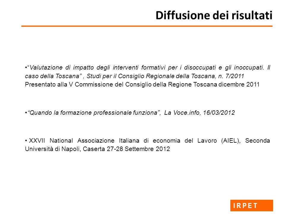 Diffusione dei risultati I R P E T Valutazione di impatto degli interventi formativi per i disoccupati e gli inoccupati.