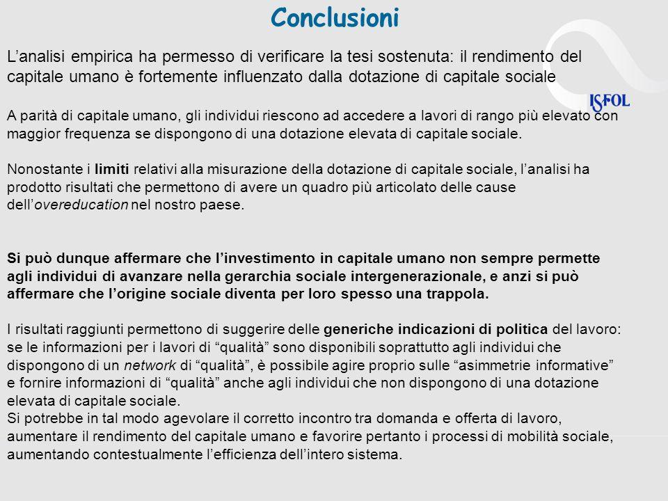Lanalisi empirica ha permesso di verificare la tesi sostenuta: il rendimento del capitale umano è fortemente influenzato dalla dotazione di capitale s