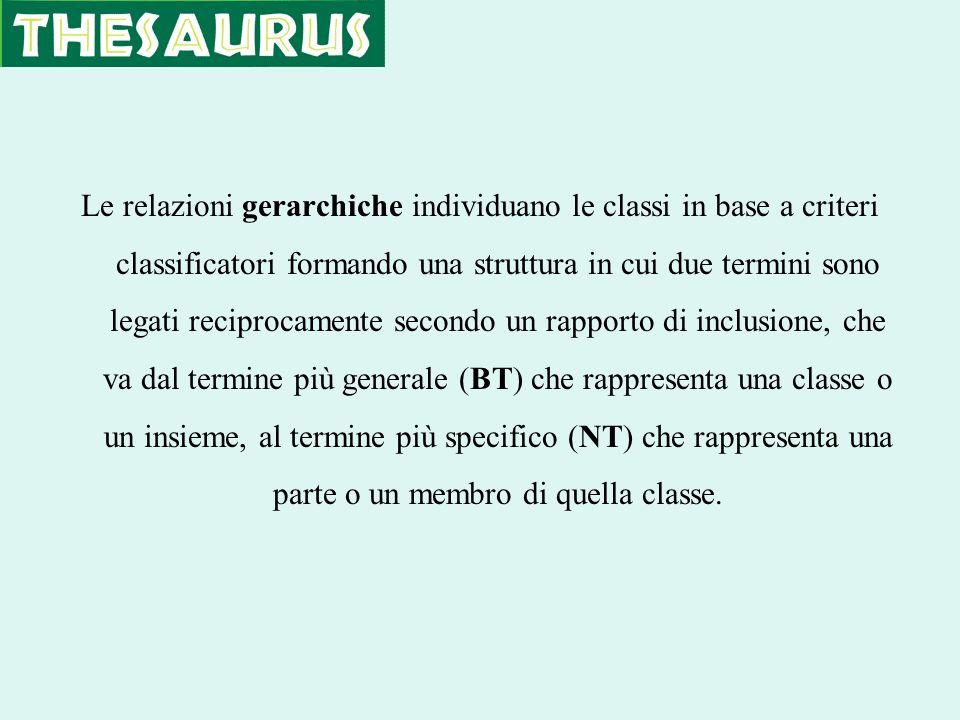 Le relazioni gerarchiche individuano le classi in base a criteri classificatori formando una struttura in cui due termini sono legati reciprocamente s