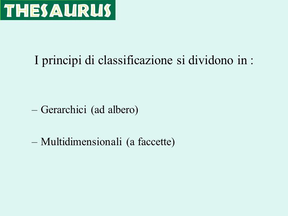 I principi di classificazione si dividono in : –Gerarchici (ad albero) –Multidimensionali (a faccette)