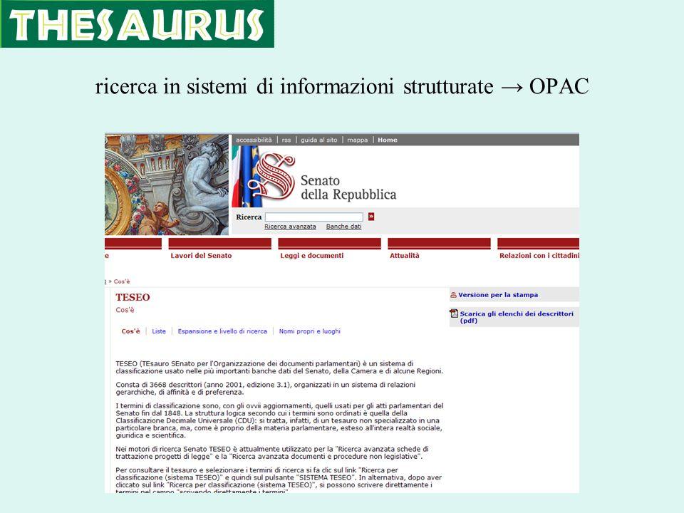 ricerca in sistemi di informazioni strutturate OPAC