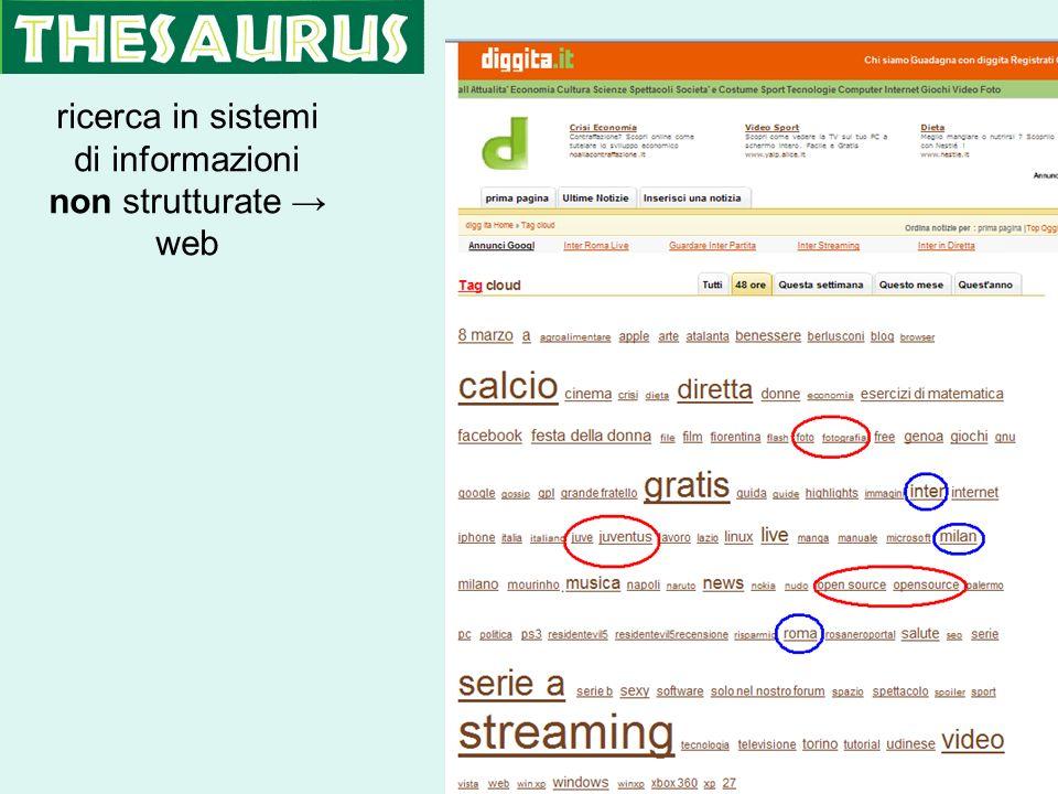 ricerca in sistemi di informazioni non strutturate web