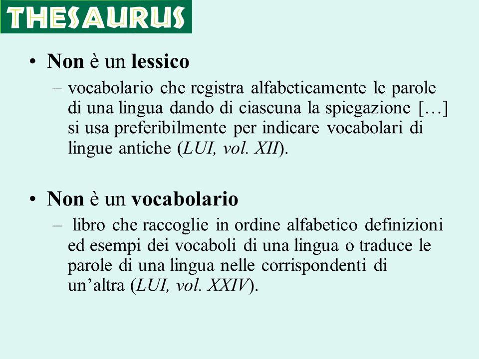 Non è un lessico –vocabolario che registra alfabeticamente le parole di una lingua dando di ciascuna la spiegazione […] si usa preferibilmente per ind