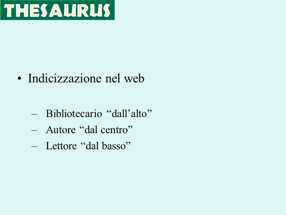Indicizzazione nel web –Bibliotecario dallalto –Autore dal centro –Lettore dal basso