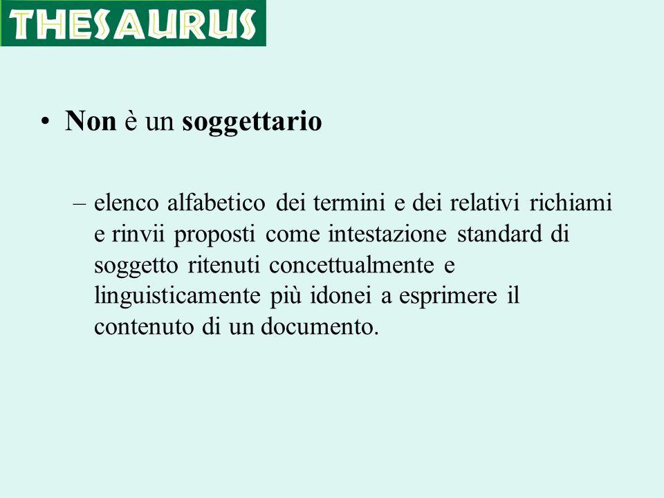 Non è un soggettario –elenco alfabetico dei termini e dei relativi richiami e rinvii proposti come intestazione standard di soggetto ritenuti concettu