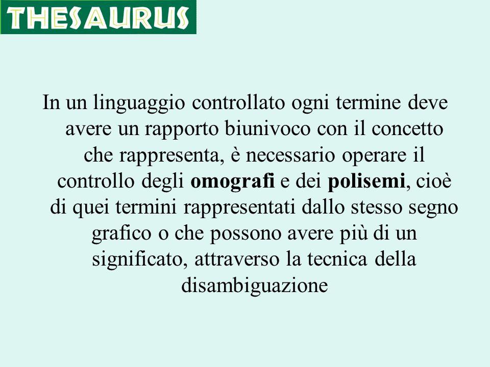 In un linguaggio controllato ogni termine deve avere un rapporto biunivoco con il concetto che rappresenta, è necessario operare il controllo degli om