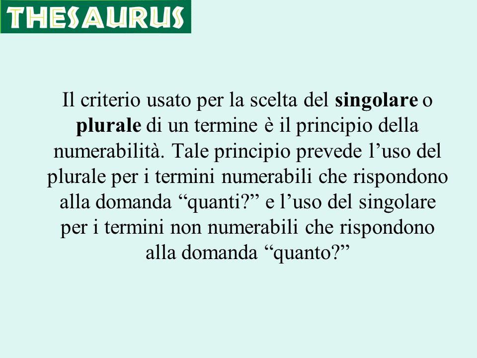 Il criterio usato per la scelta del singolare o plurale di un termine è il principio della numerabilità. Tale principio prevede luso del plurale per i