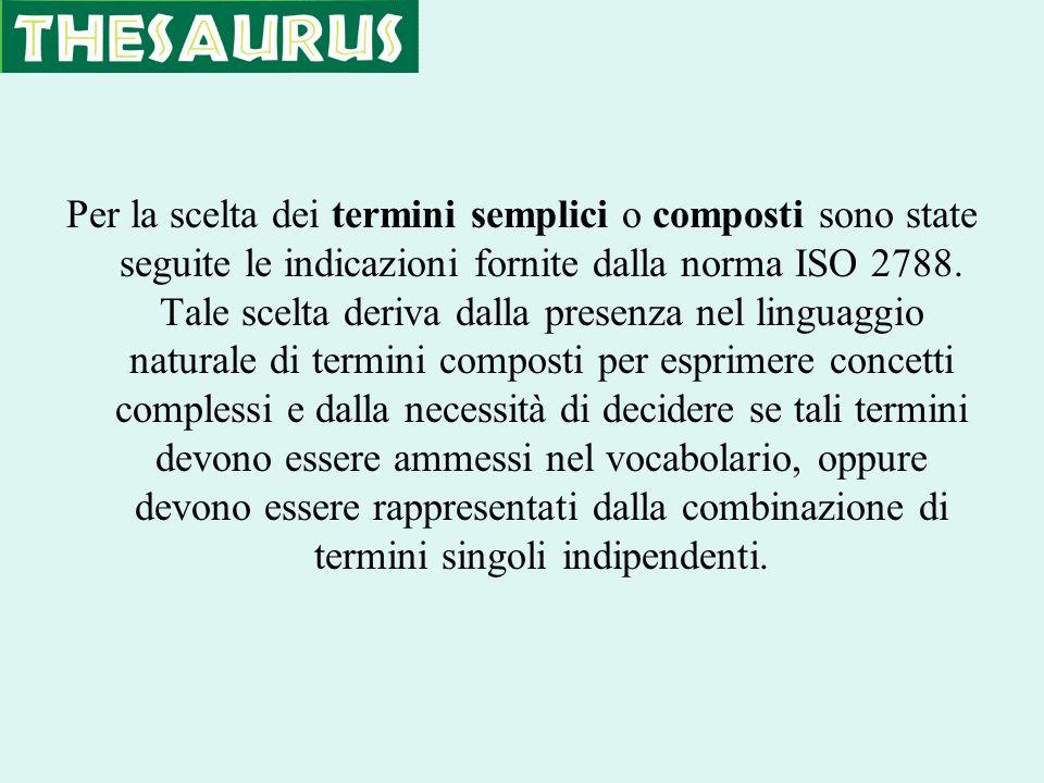Per la scelta dei termini semplici o composti sono state seguite le indicazioni fornite dalla norma ISO 2788. Tale scelta deriva dalla presenza nel li