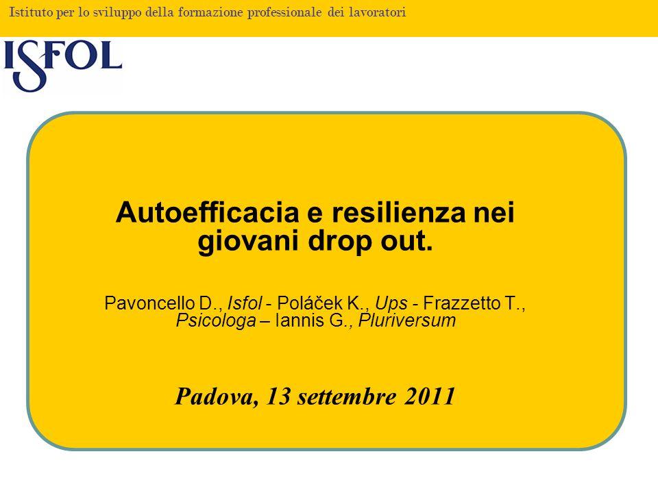 Istituto per lo sviluppo della formazione professionale dei lavoratori Autoefficacia e resilienza nei giovani drop out. Pavoncello D., Isfol - Poláček