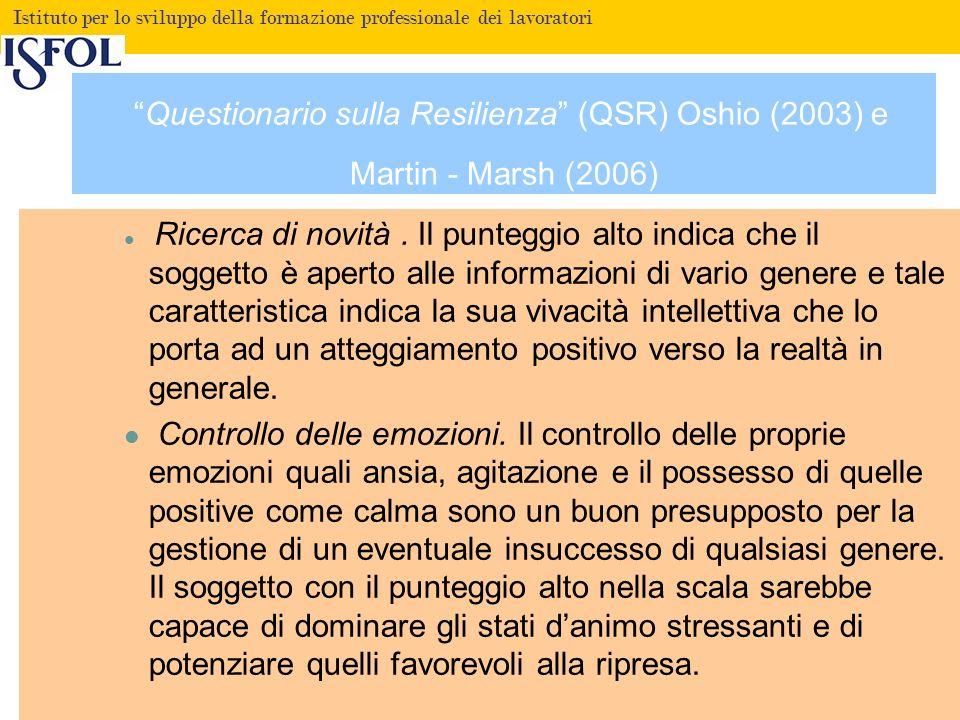 Fare clic per modificare lo stile del titolo Istituto per lo sviluppo della formazione professionale dei lavoratori Questionario sulla Resilienza (QSR) Oshio (2003) e Martin - Marsh (2006) Ricerca di novità.
