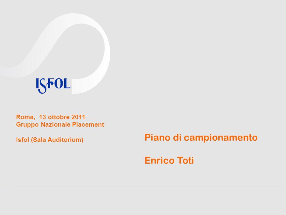 Piano di campionamento Enrico Toti Roma, 13 ottobre 2011 Gruppo Nazionale Placement Isfol (Sala Auditorium)