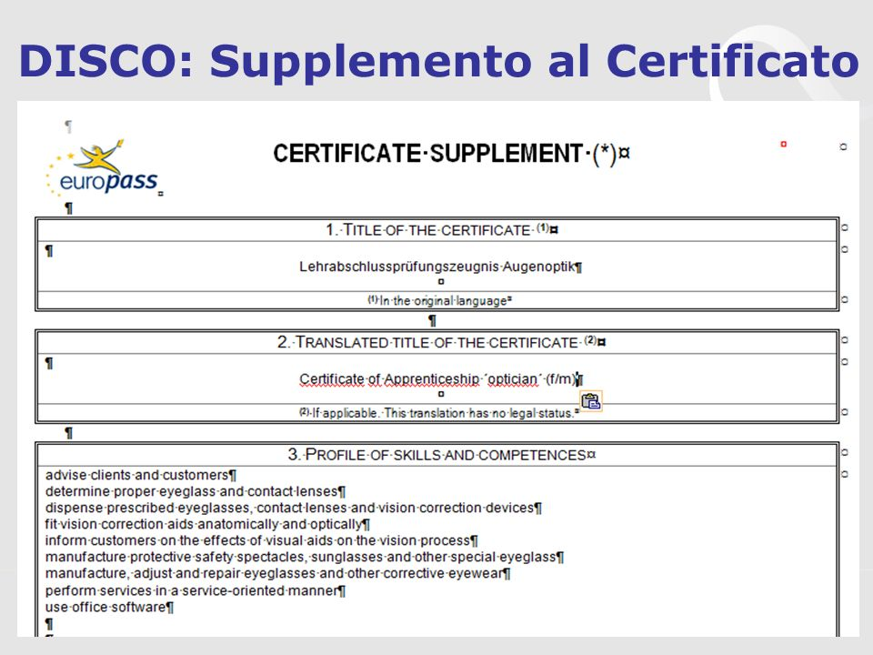 DISCO: Supplemento al Certificato
