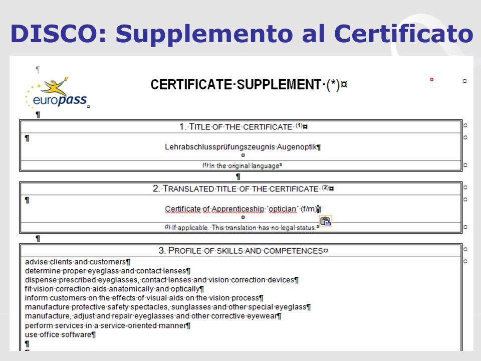 DISCO: Supplemento al Certificato