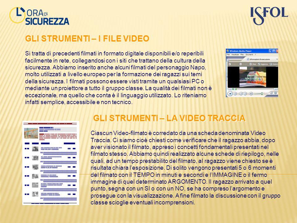 GLI STRUMENTI – I FILE VIDEO Si tratta di precedenti filmati in formato digitale disponibili e/o reperibili facilmente in rete, collegandosi con i sit